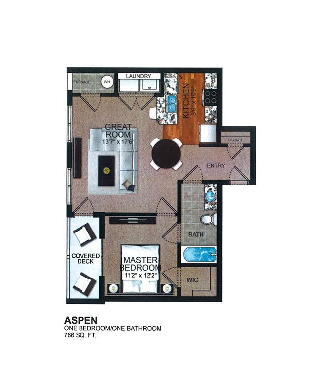 Aspen - 1 Bedroom, 1 Bathroom - The Residences at Vista Square